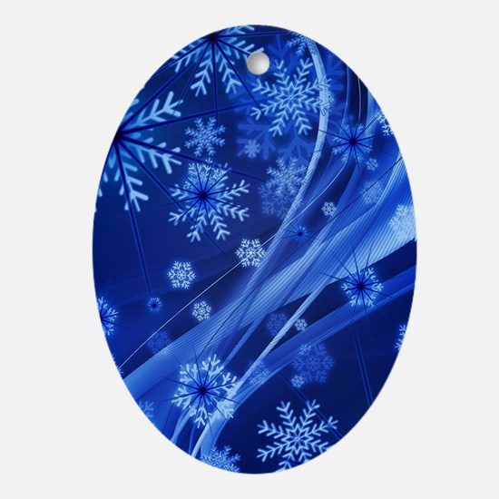 Blue Snowflakes Oval Ornament