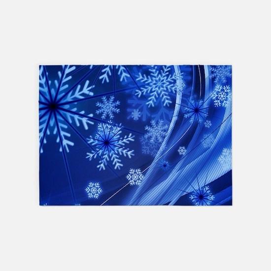 Blue Snowflakes 5'x7'Area Rug