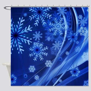 Blue Snowflakes Shower Curtain