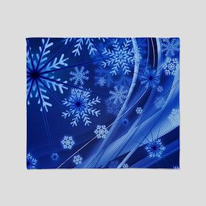 Blue Snowflakes Throw Blanket