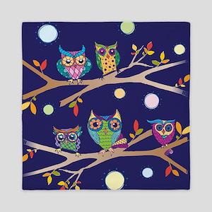 Nighttime Owl Party Queen Duvet