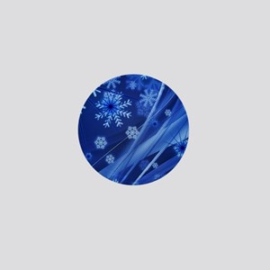 Blue Snowflakes Mini Button