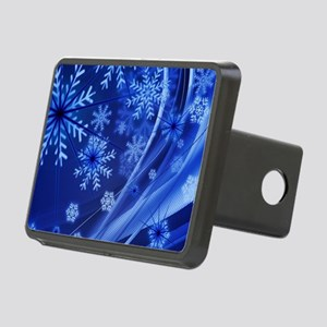 Blue Snowflakes Rectangular Hitch Cover