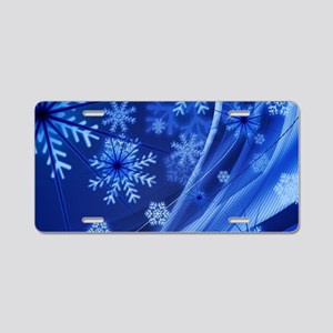 Blue Snowflakes Aluminum License Plate