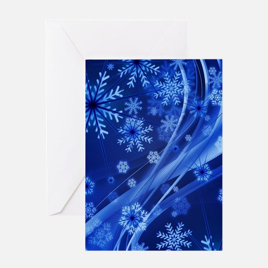 Blue Snowflakes Greeting Cards