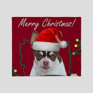 Merry Christmas Chihuahua Dog Throw Blanket