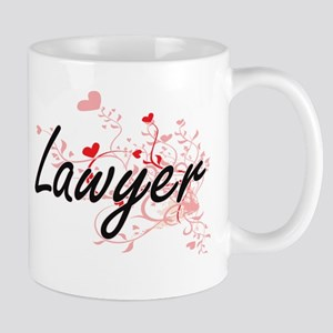 Lawyer Artistic Job Design with Hearts Mugs