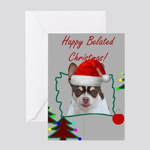 Belated Christmas Chihuahua Dog Greeting Cards