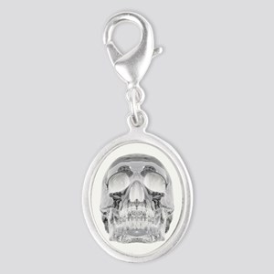 Crystal Skull Silver Oval Charm
