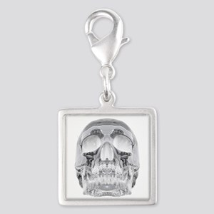 Crystal Skull Silver Square Charm