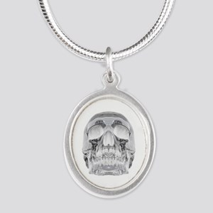 Crystal Skull Silver Oval Necklace
