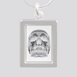 Crystal Skull Silver Portrait Necklace