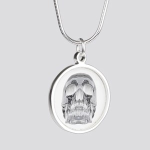 Crystal Skull Silver Round Necklace