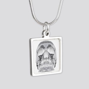 Crystal Skull Silver Square Necklace