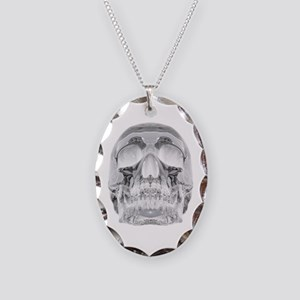 Crystal Skull Necklace Oval Charm