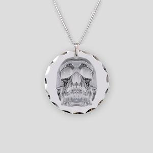 Crystal Skull Necklace Circle Charm