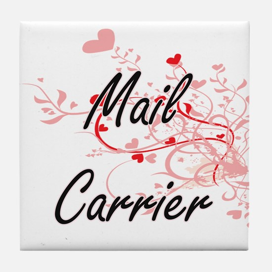 Mail Carrier Artistic Job Design with Tile Coaster