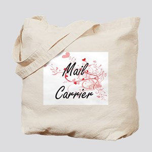 Mail Carrier Artistic Job Design with Hea Tote Bag