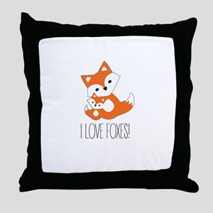 I LOVE FOXES Throw Pillow