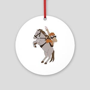 Bucking Bronco Cowboy Round Ornament
