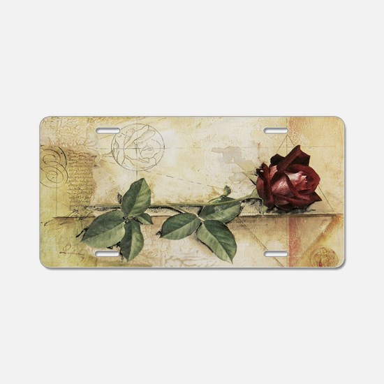 Da Vinci Letter Rose Aluminum License Plate