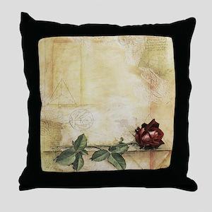 Da Vinci Letter Rose Throw Pillow