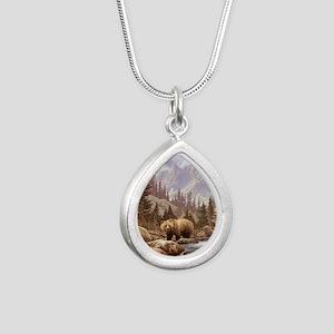 Grizzly Bear Landscape Silver Teardrop Necklace