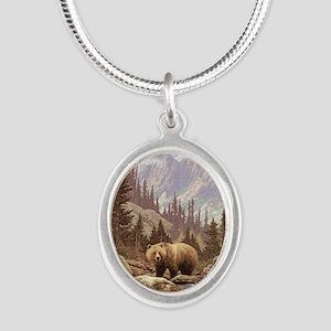 Grizzly Bear Landscape Silver Oval Necklace