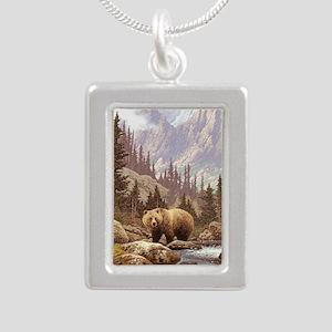 Grizzly Bear Landscape Silver Portrait Necklace