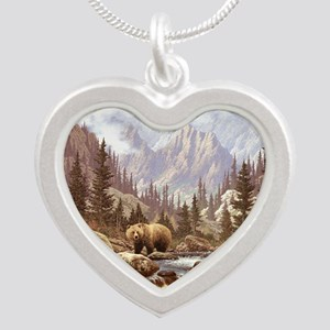 Grizzly Bear Landscape Silver Heart Necklace
