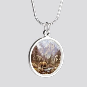 Grizzly Bear Landscape Silver Round Necklace