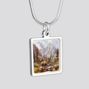 Grizzly Bear Landscape Silver Square Necklace