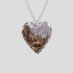 Grizzly Bear Landscape Necklace Heart Charm