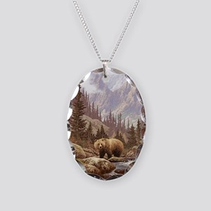 Grizzly Bear Landscape Necklace Oval Charm