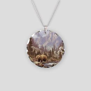 Grizzly Bear Landscape Necklace Circle Charm
