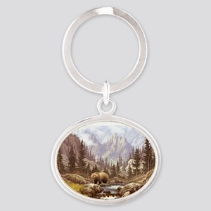 Grizzly Bear Landscape Oval Keychain