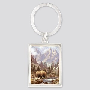 Grizzly Bear Landscape Portrait Keychain