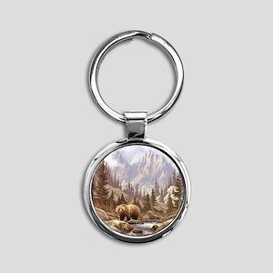 Grizzly Bear Landscape Round Keychain