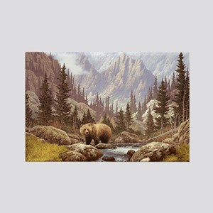 Grizzly Bear Landscape Rectangle Magnet