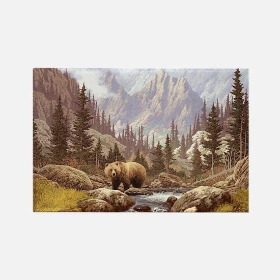 Grizzly Bear Landscape Rectangle Magnet