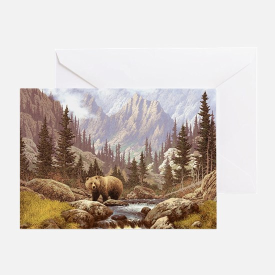 Grizzly Bear Landscape Greeting Card