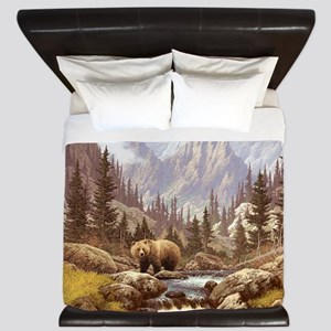 Grizzly Bear Landscape King Duvet