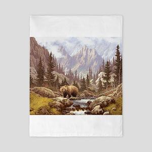 Grizzly Bear Landscape Twin Duvet