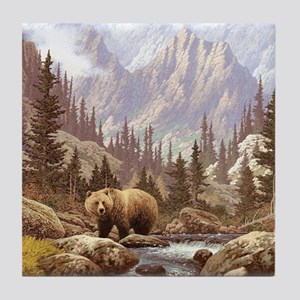 Grizzly Bear Landscape Tile Coaster
