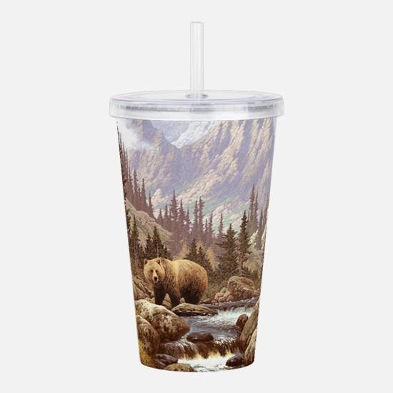 Grizzly Bear Landscape Acrylic Double-wall Tumbler