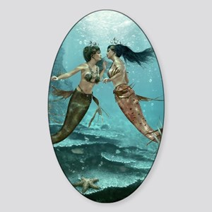 Friendly Mermaids Sticker (Oval)