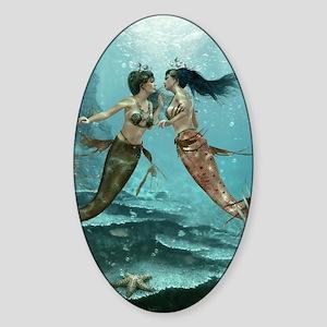 Friendly Mermaids Sticker (Oval)