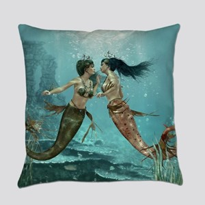 Friendly Mermaids Everyday Pillow