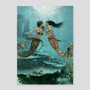 Friendly Mermaids 5'x7'Area Rug