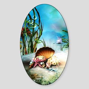 Underwater Sea Life Sticker (Oval)